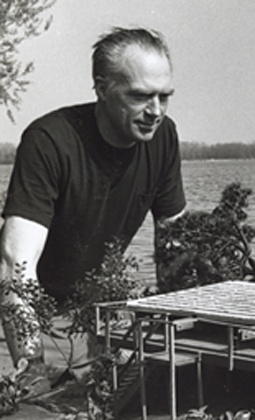 Depiction of Barrie Greenbie with g-frame model