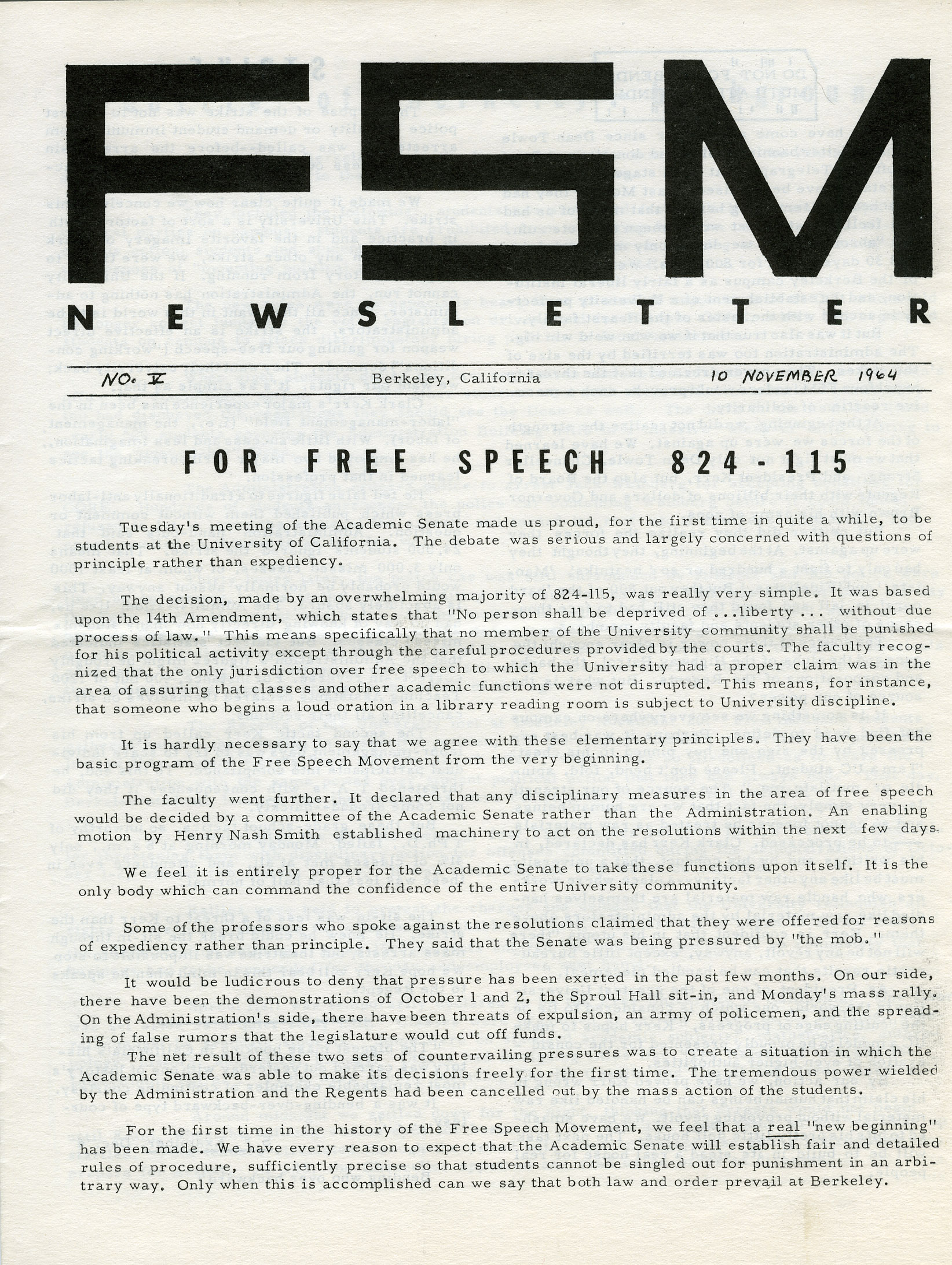 Image of Free Speech Movement newsletter