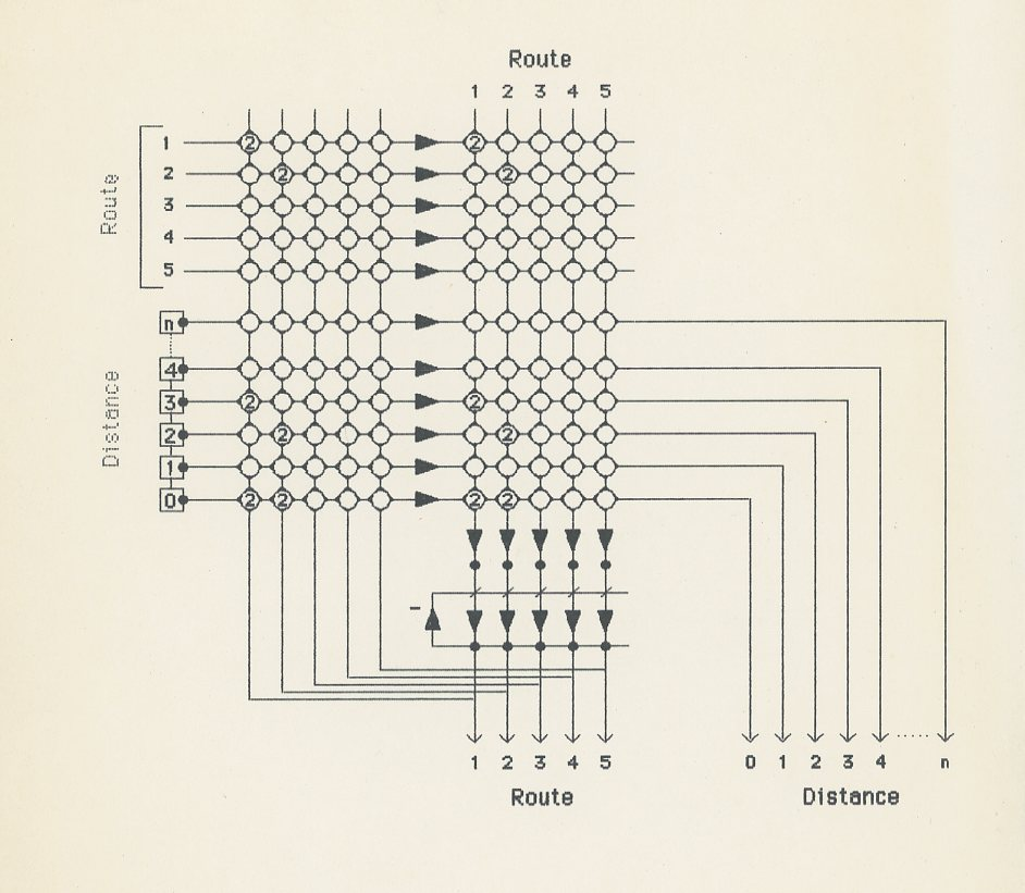 Depiction of Draft of a synaptic matrix for Trehub's book, The Cognitive Brain, ca. 1987.