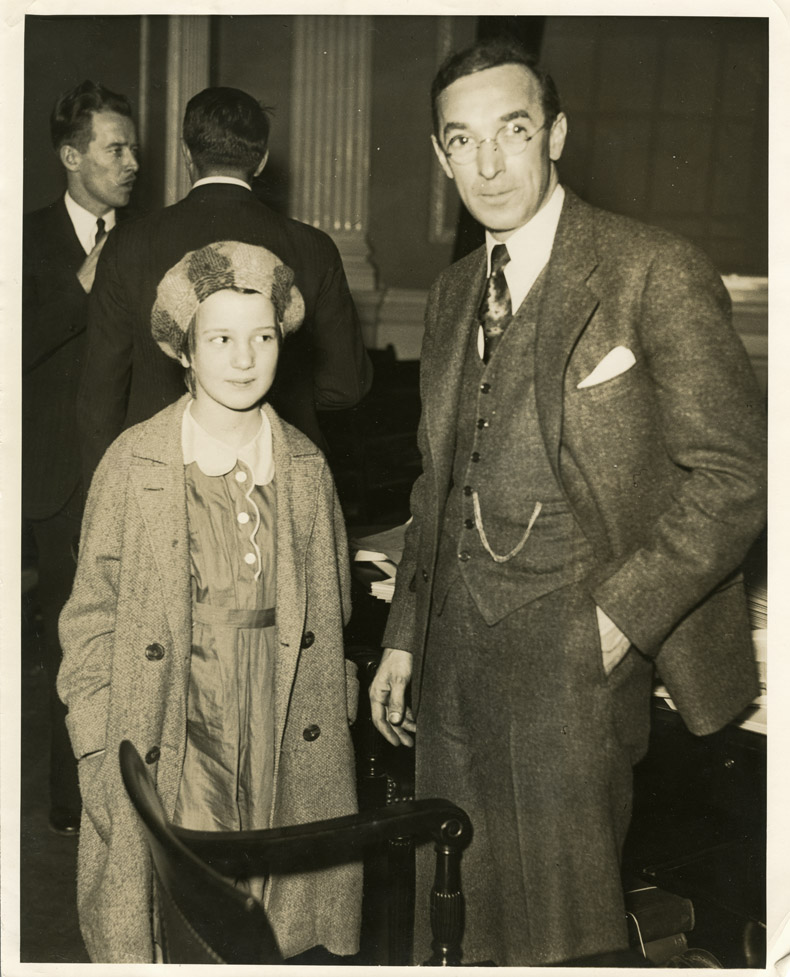 Depiction of Howard B. Gill and daughter Joan, Mar. 1934