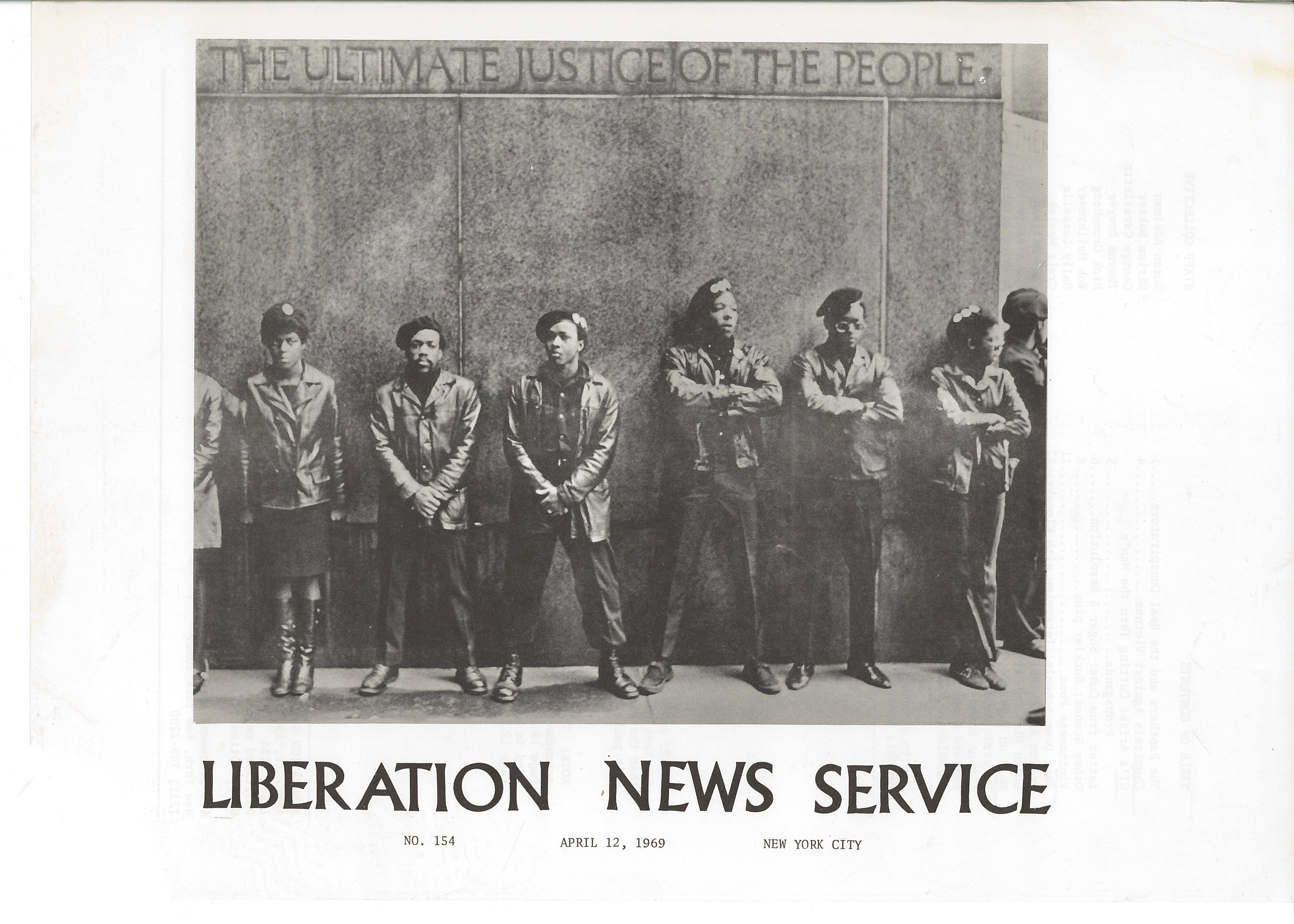 An image of: Cover of Liberation News Service issue 154, April 12, 1969.