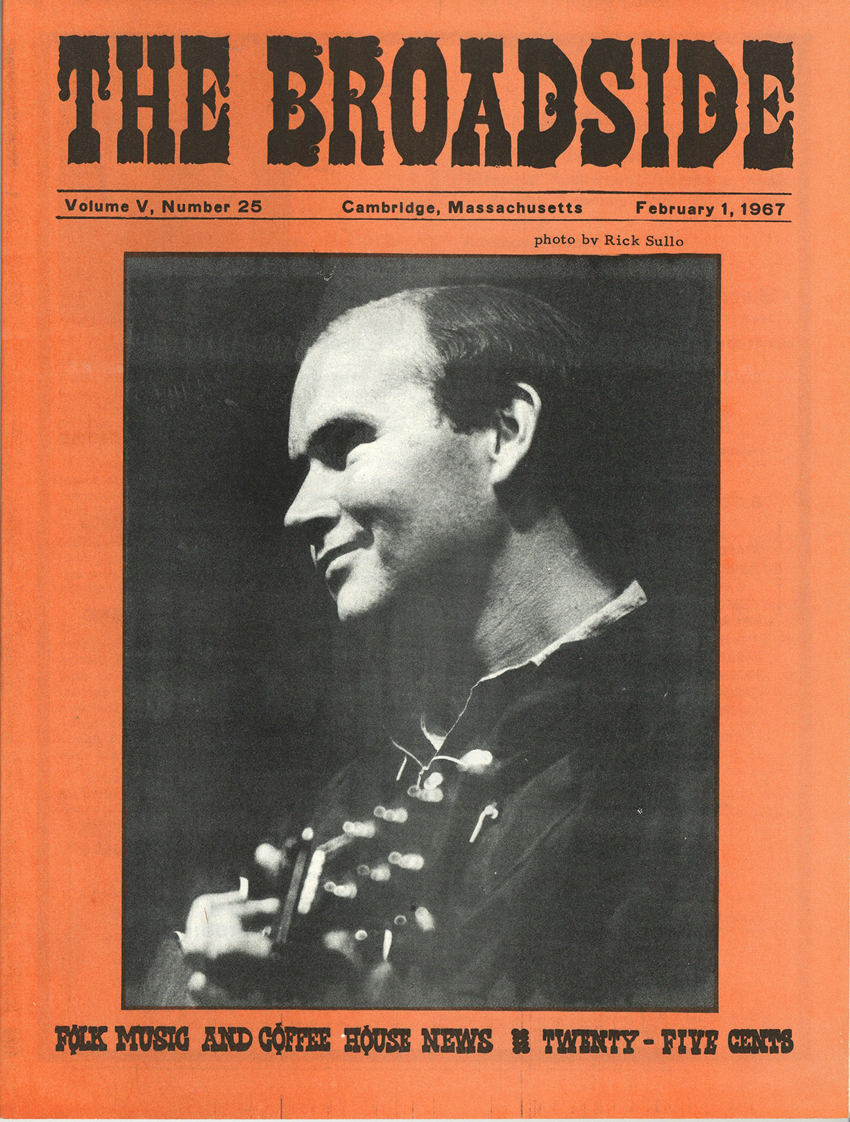 Depiction of Bill Keith on the cover of Broadside, Feb. 1, 1967