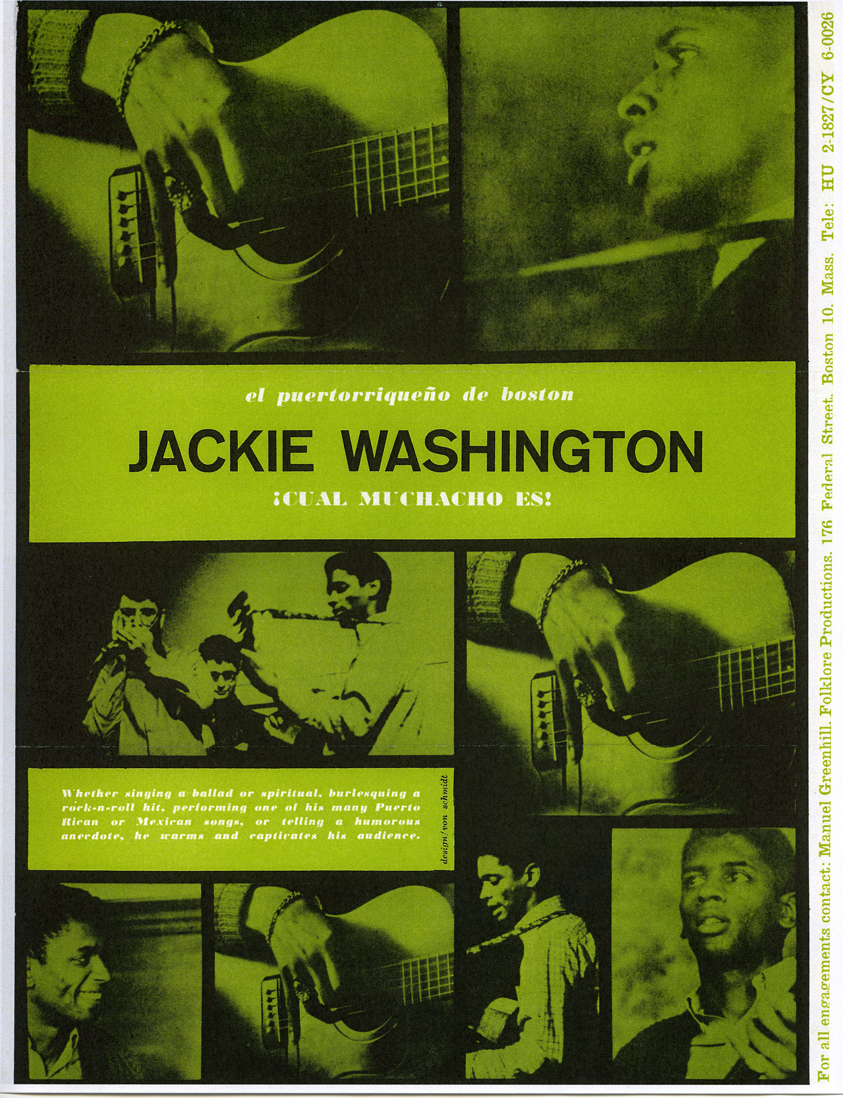 Depiction of Poster for performance by Jackie Wilson, 1964 (designed by Eric von Schmidt)
