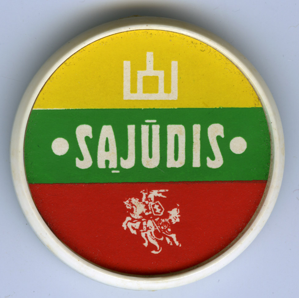 Depiction of Sajudis button, ca.1989