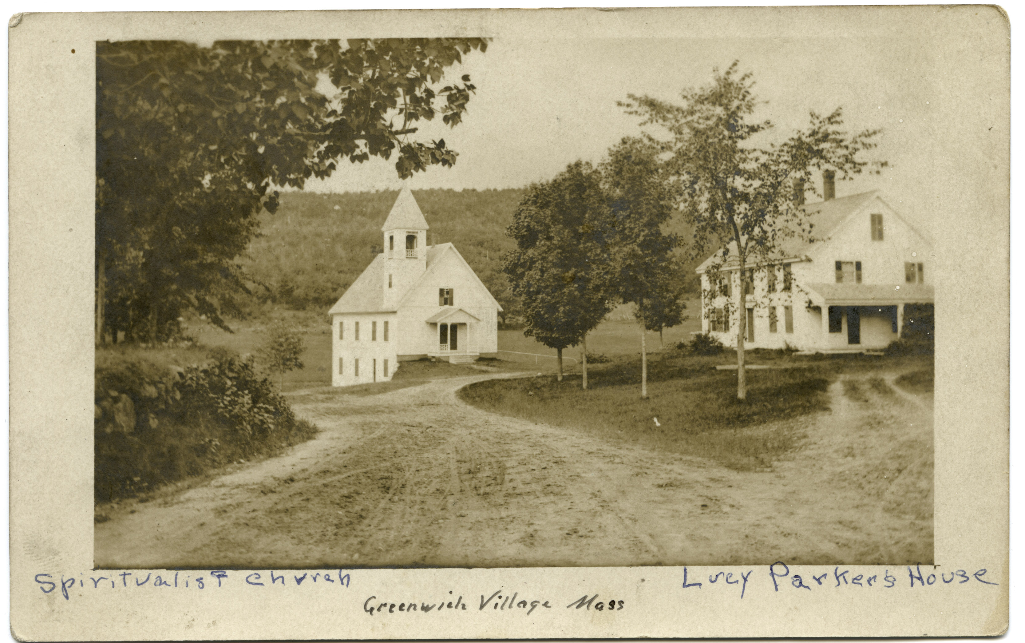 Image of Spiritualist Church and Lucy Parker's house, ca.1908