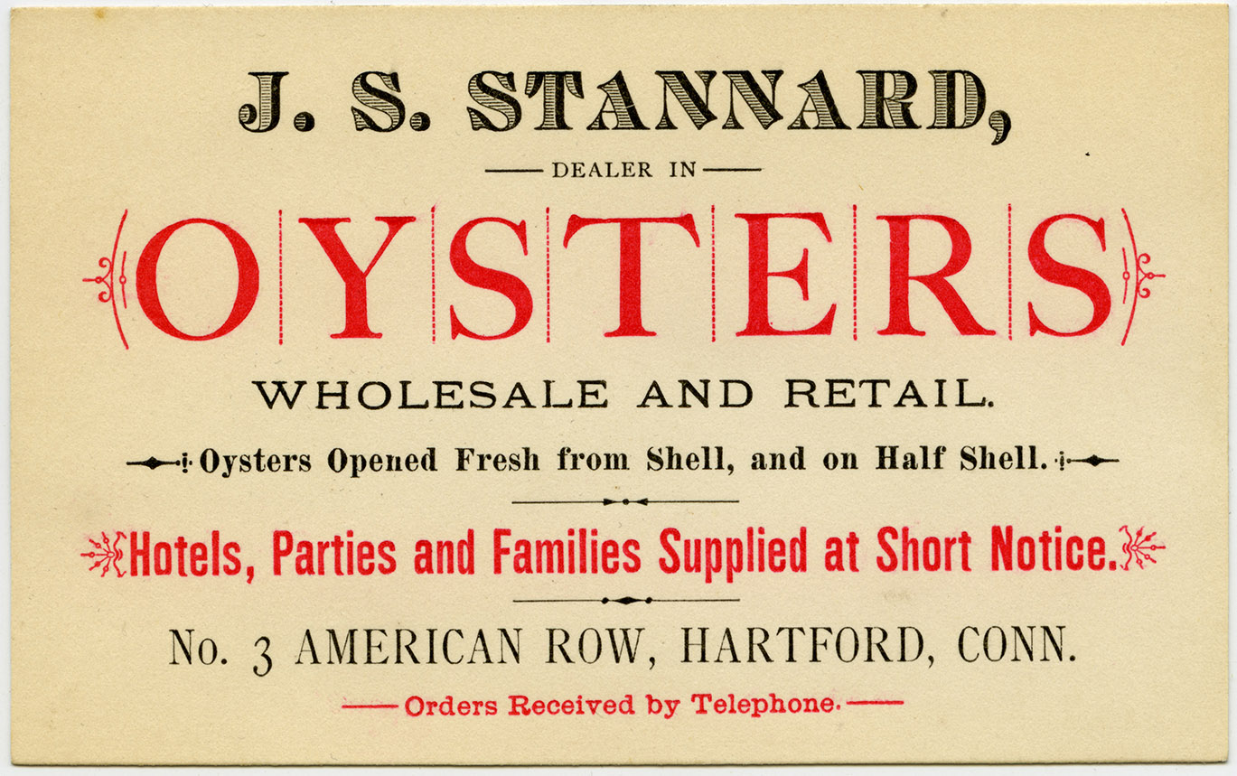Depiction of Business card for J.S. Stannard Oysters, ca.1885
