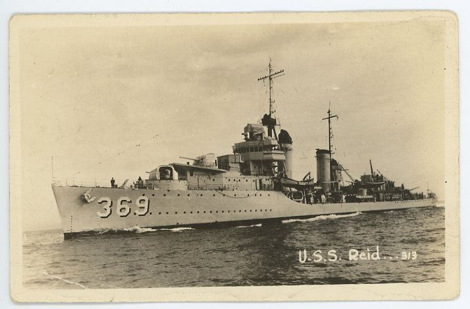 Depiction of Postcard featuring the USS Reid