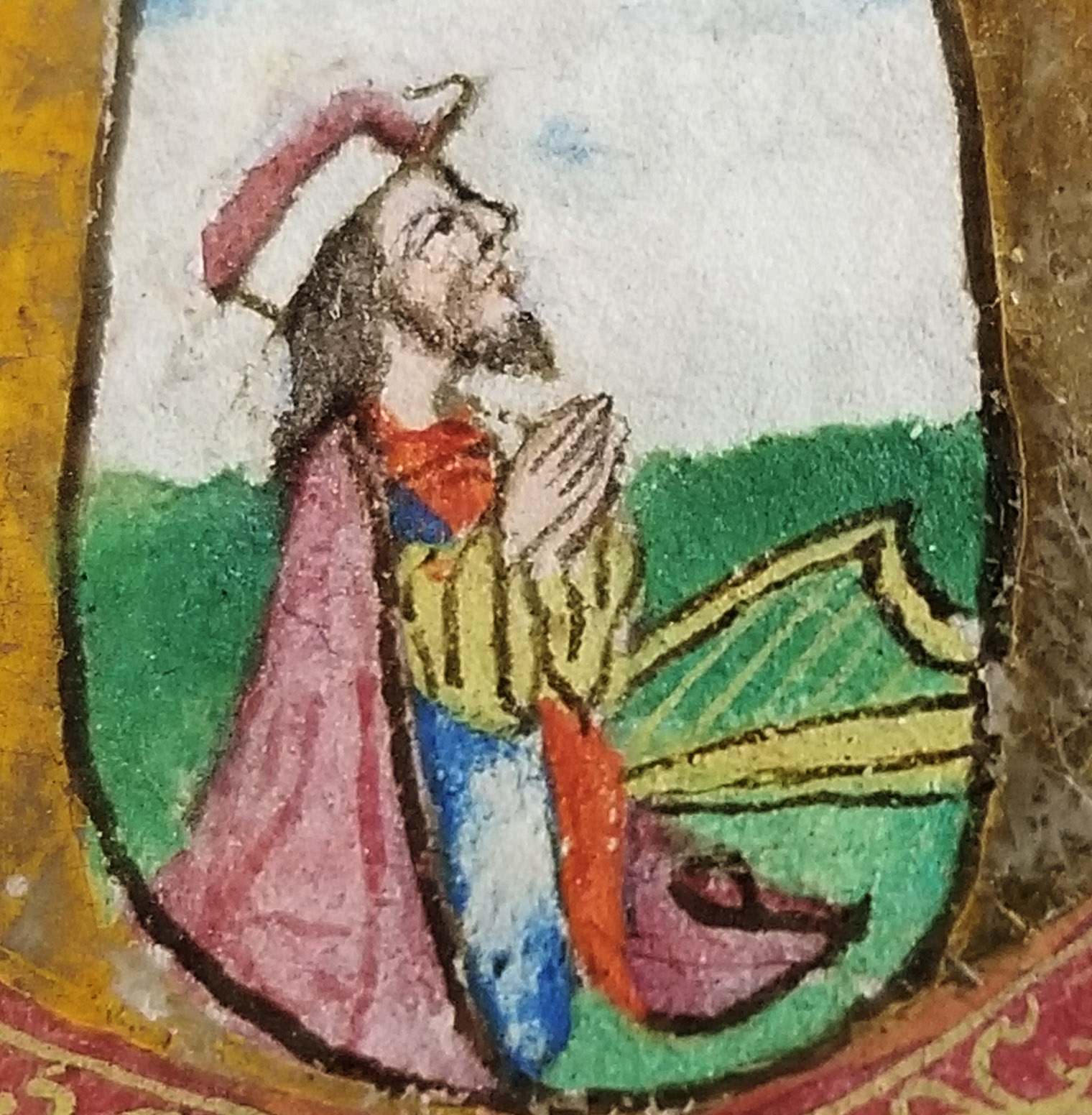 An image of: Close-up of illustration of King David