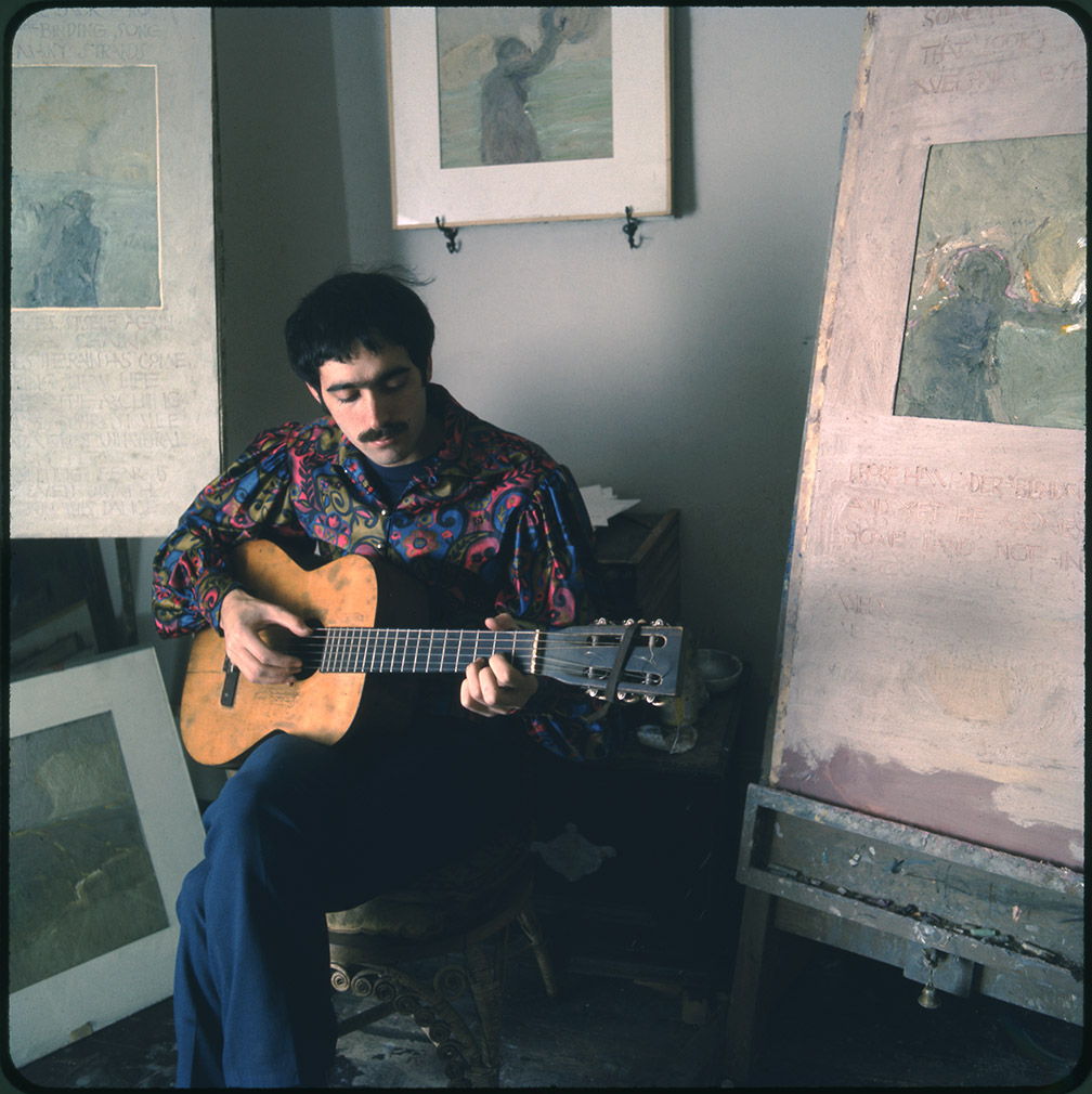 Depiction of Jim Kweskin playing guitar at Fort Hill, 1967