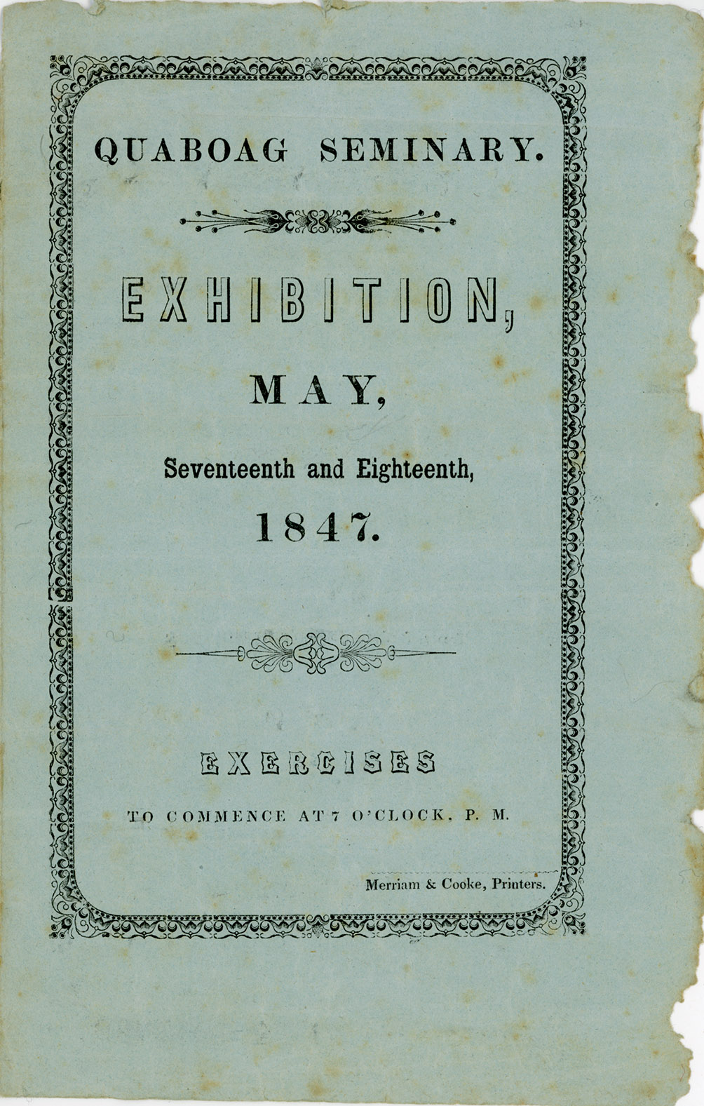 Depiction of Program of the student exhibition, Quaboag Seminary, 1847