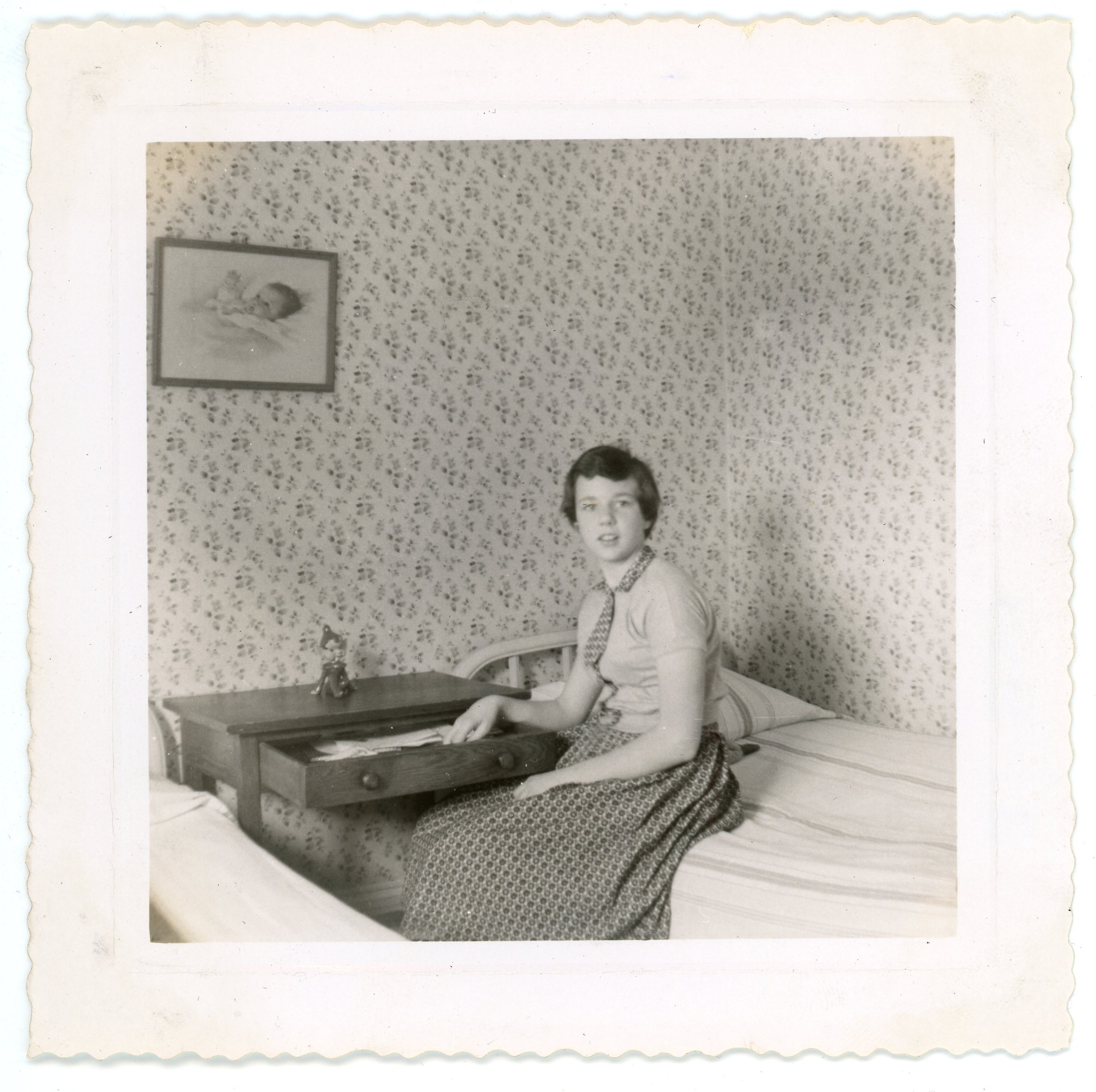 Depiction of Joanne Fortune in her dorm room, photo by Nancy Arena