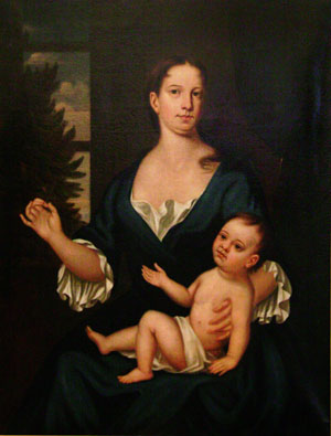 Depiction of Deborah Brinley and infant son Francis, 1729<br />Copy by Charles U. Bond (1830)<br />after John Smibert