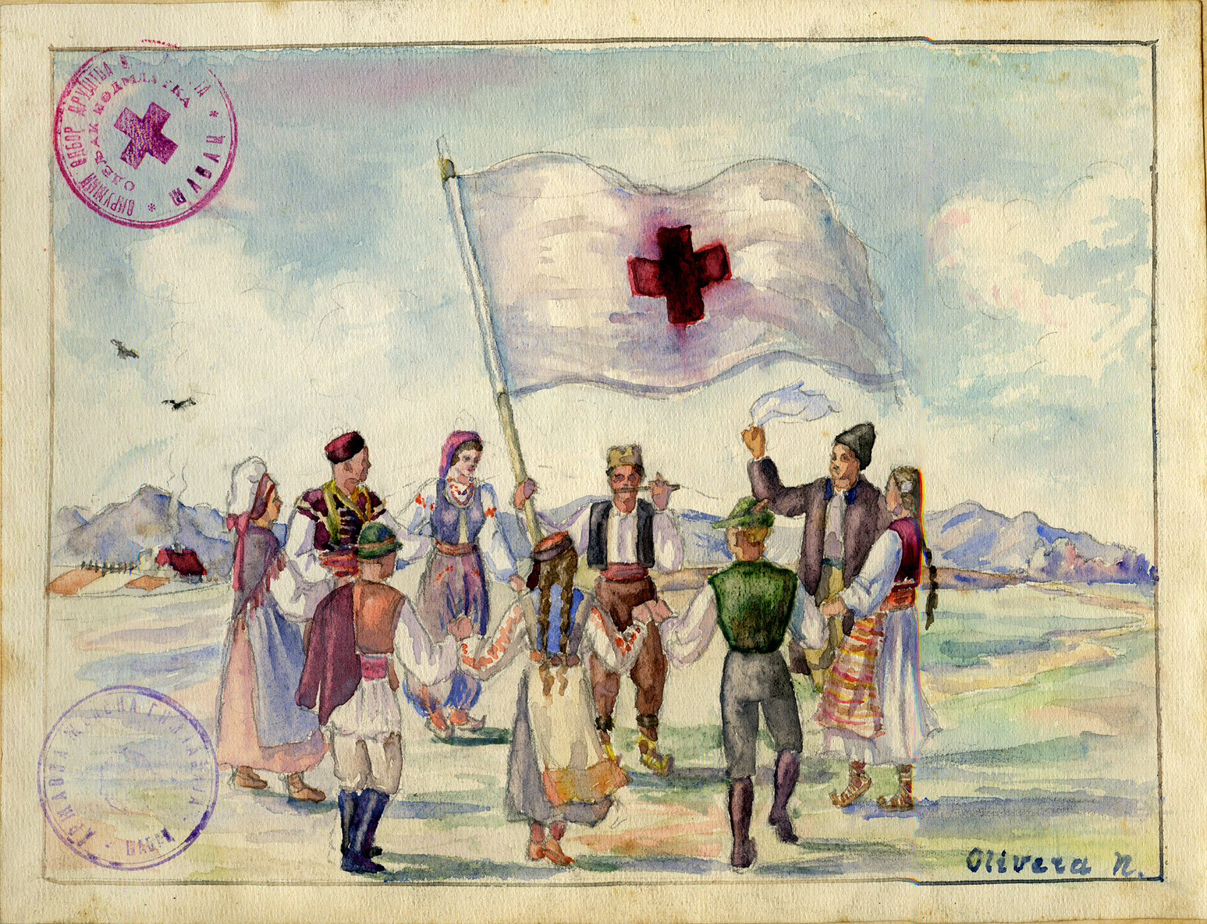 Depiction of Dancing the hora around a Red Cross flag, 1946