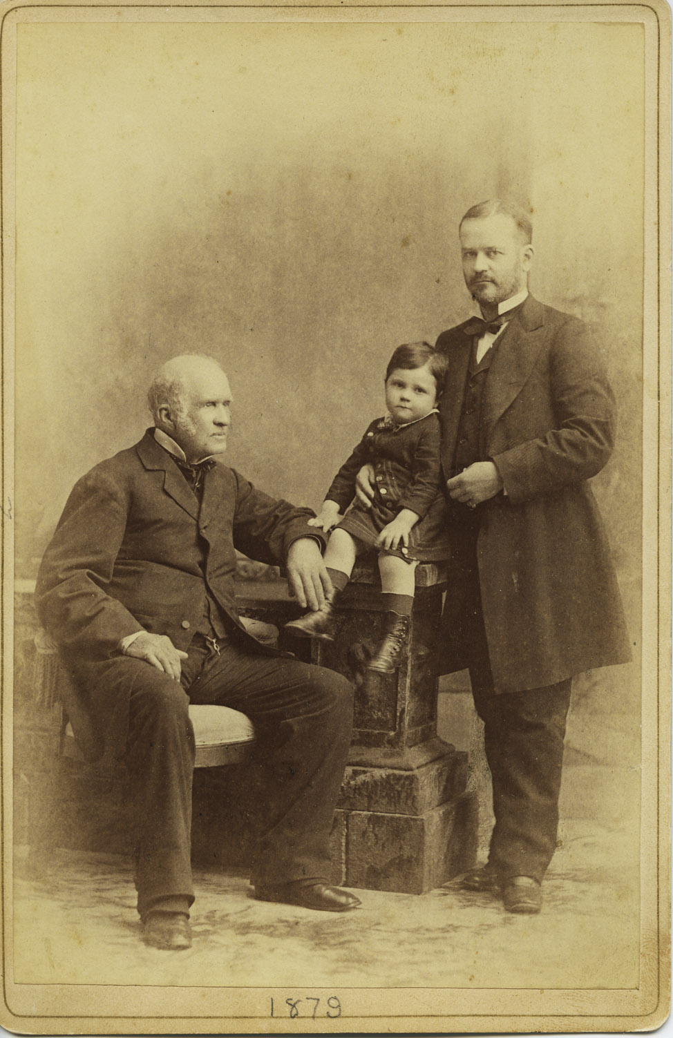 Depiction of Three generations: including Erasmus Darwin Hudson Sr. and Jr.