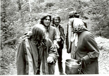 Image of Beth Hapgood and members of the Brotherhood, ca.1969