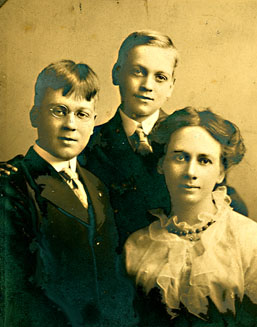 Sadie Campbell and her two sons, Harold and Robert Leslie.