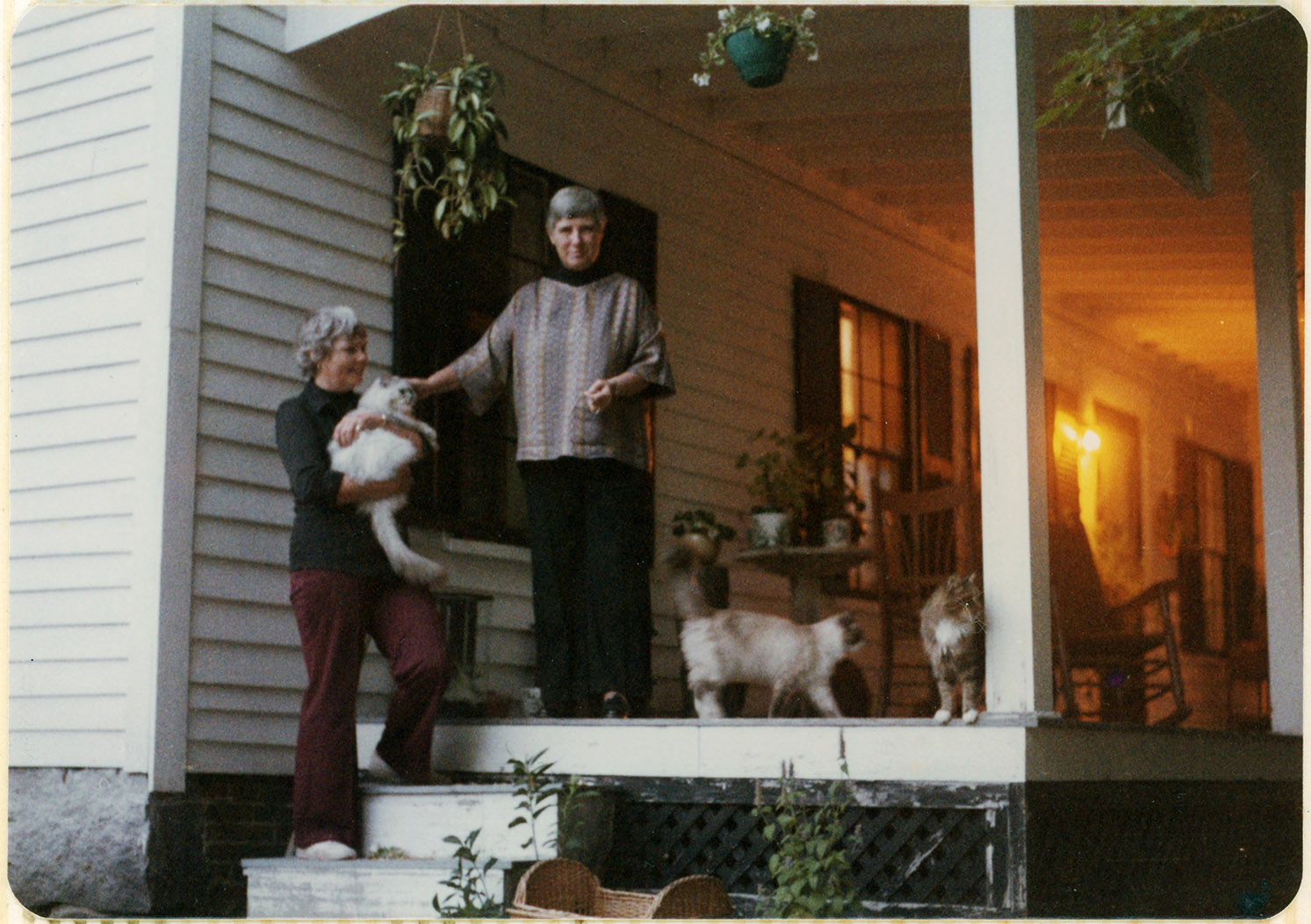 Depiction of Abramson, Johnson, and cats on the porch of their New Salem home, 1977