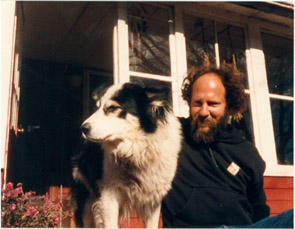 Depiction of Steve Diamond and border collie at Montague Farm, ca.1980