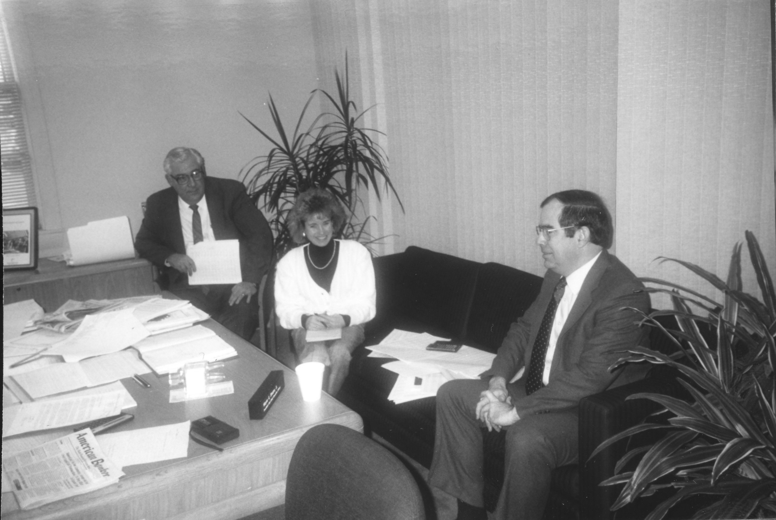 Image of Tom Deary (right) at meeting of New England Labor News