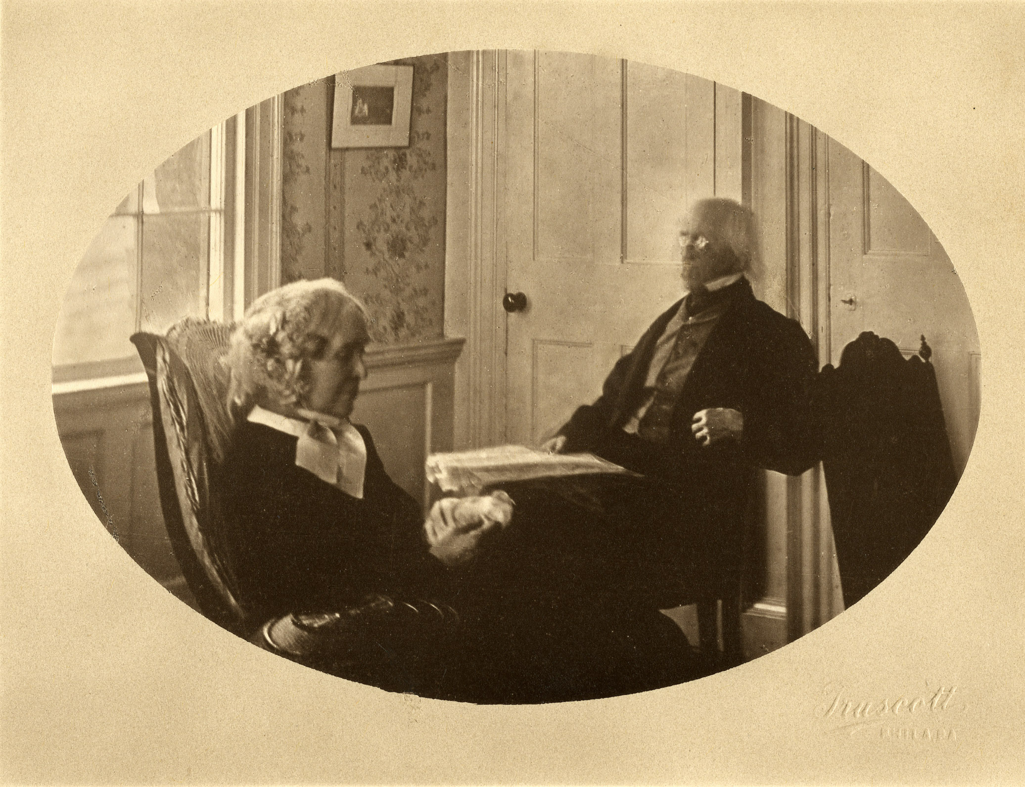 An image of: Samuel F. and Almira Lyman in the South Parlor, ca.1865
