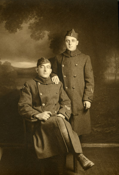 Depiction of Phillip N. Pike (seated) and friend, 1918