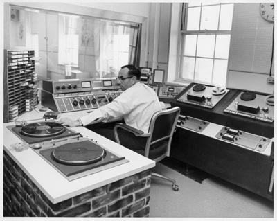 An image of: WFCR studio, ca.1968