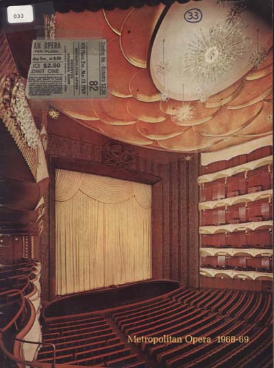 Depiction of Program, Metropolitan Opera, 1969