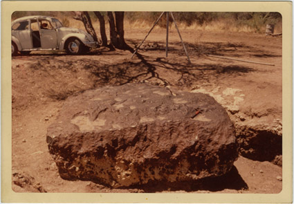 Depiction of Hoba West meterorite, Nov. 1971, 12 miles west of Grootfontein, South West Africa