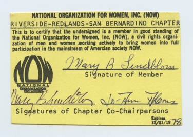 An image of: NOW membership card