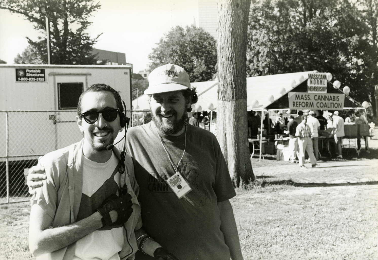 Depiction of JoeJoe and Pres. Bill Downing at Boston Freedom Rally, 1996. Photo by Sam Robbins.