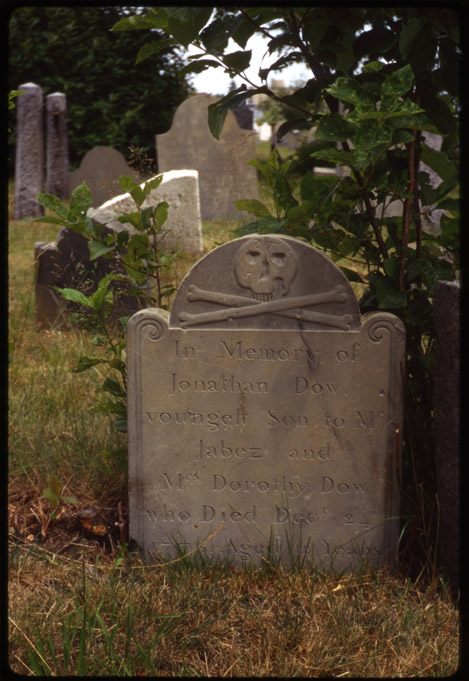 Depiction of Jonathan Dow marker, Eastern Cemetery, Portland, Me.