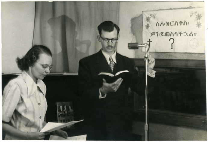 An image of: Ethel A. Killgrove and Mr. Braden at the mike in studio, Addis Ababa