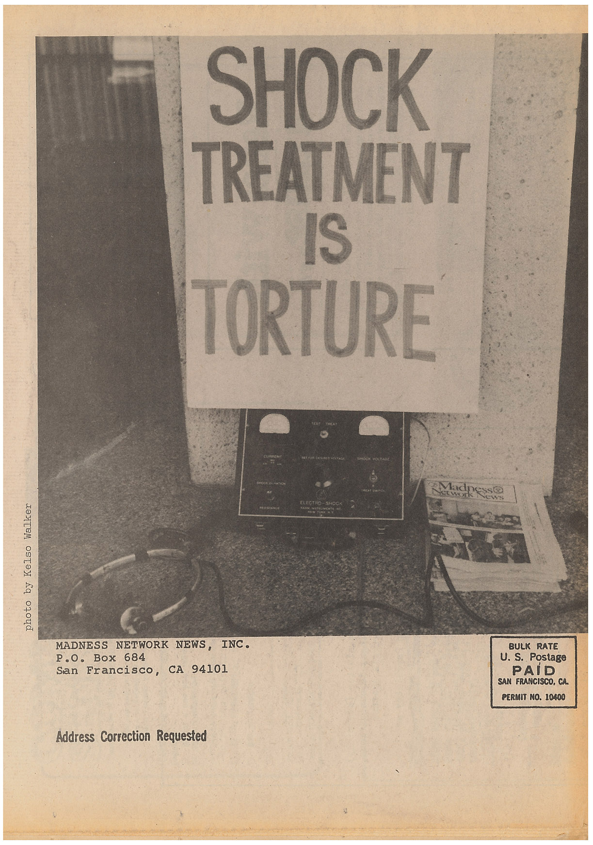 Depiction of Backpage of Madness Network News, Spring 1978, Vol. 4: No. 6. Photo by Kelso Walker.