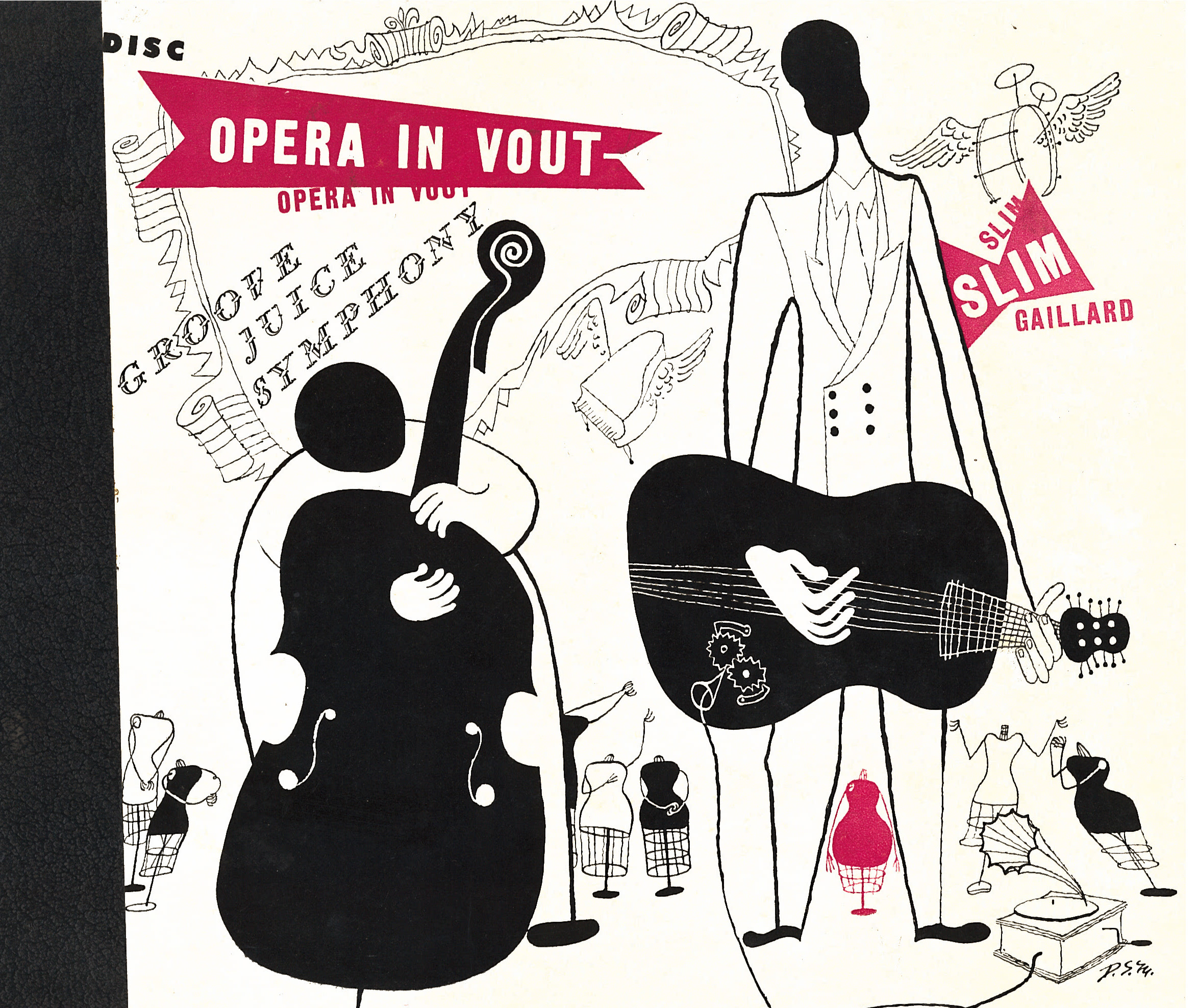 "An image of: Slim Gaillard and Bam Brown, ""Opera in Vout,"" 1946. Illustration by David                         Stone Martin."