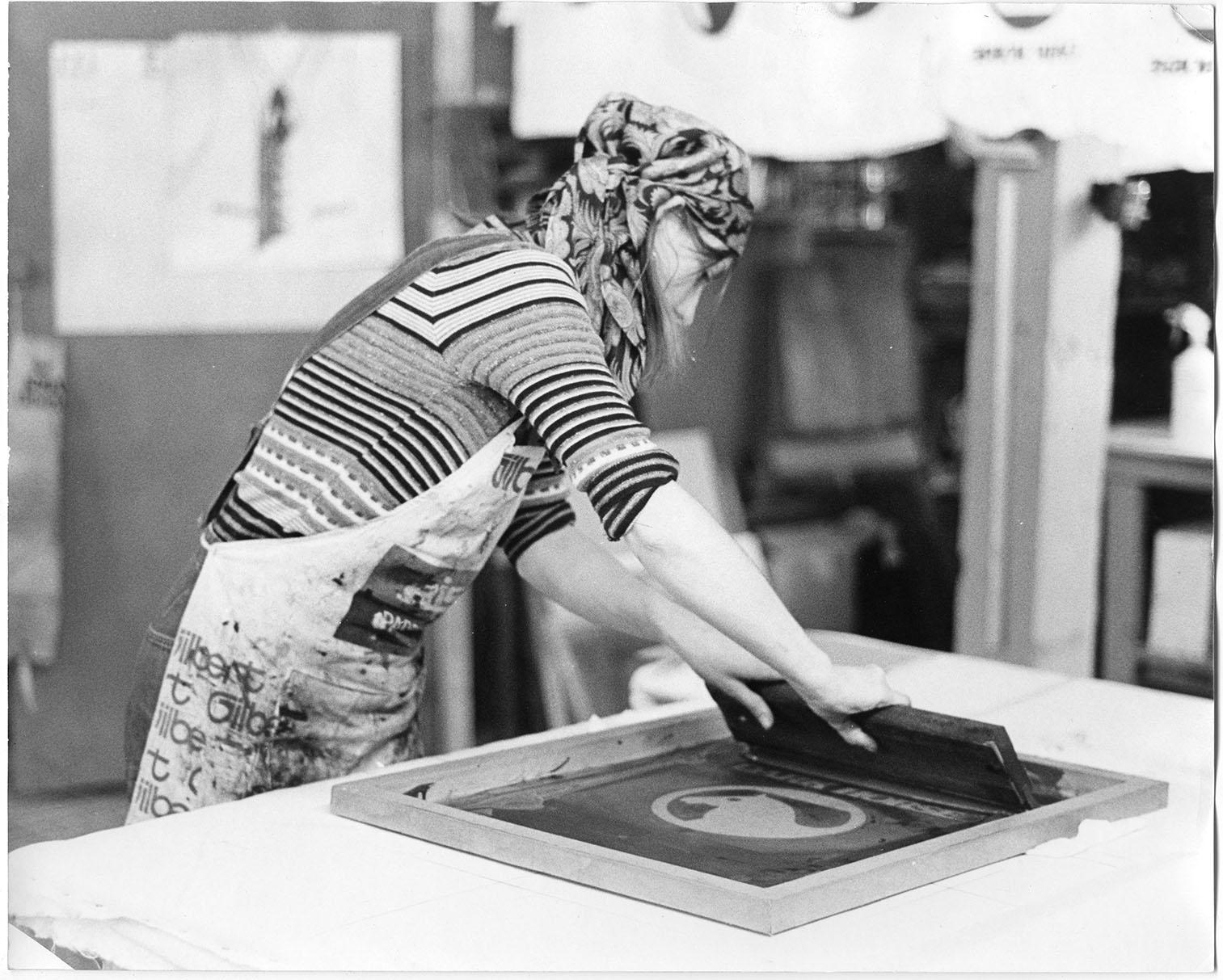 An image of: Patty Matasy screen printing, ca.1975