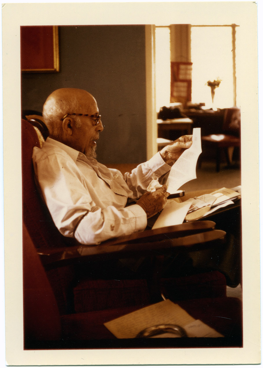Depiction of W.E.B. Du Bois at home in Accra, 1963
