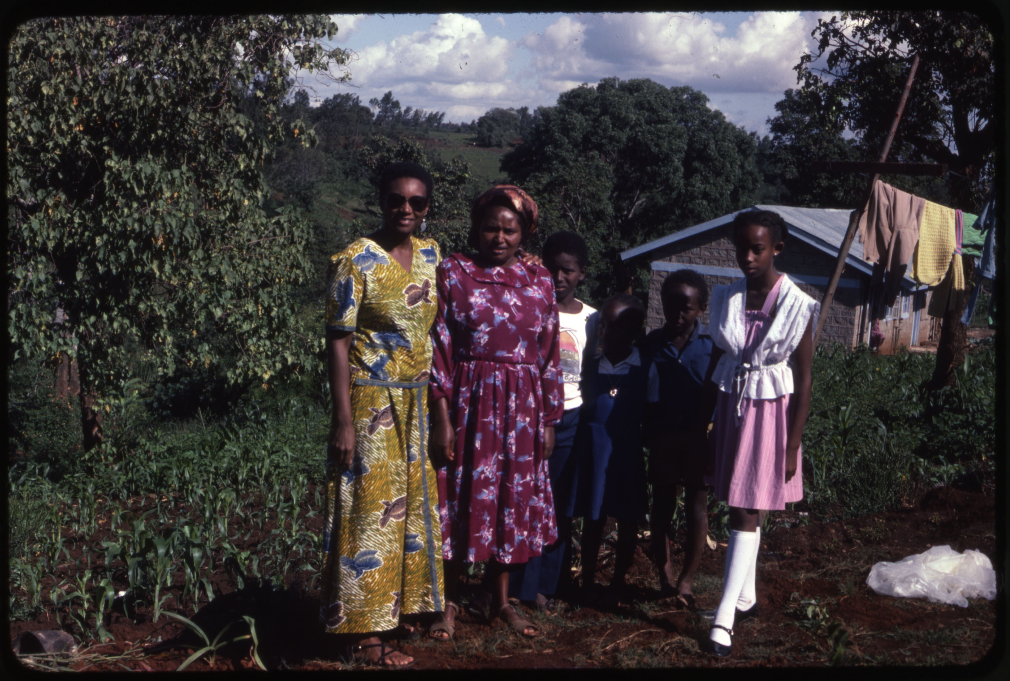 An image of: Carolyn Martin Shaw, on left, with family in Kenya, ca.1972
