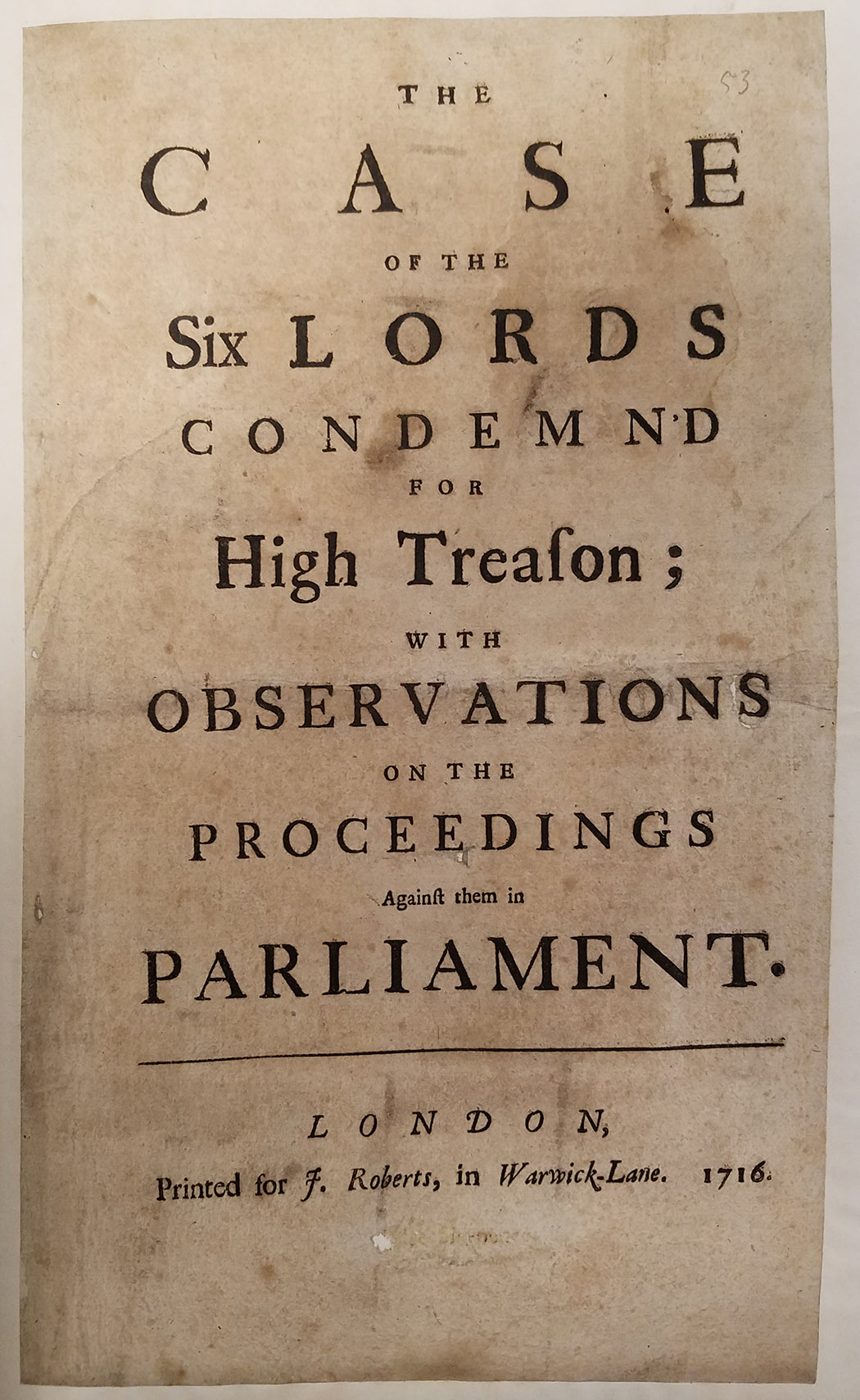 Image of The case of the six lords condemned for high treason
