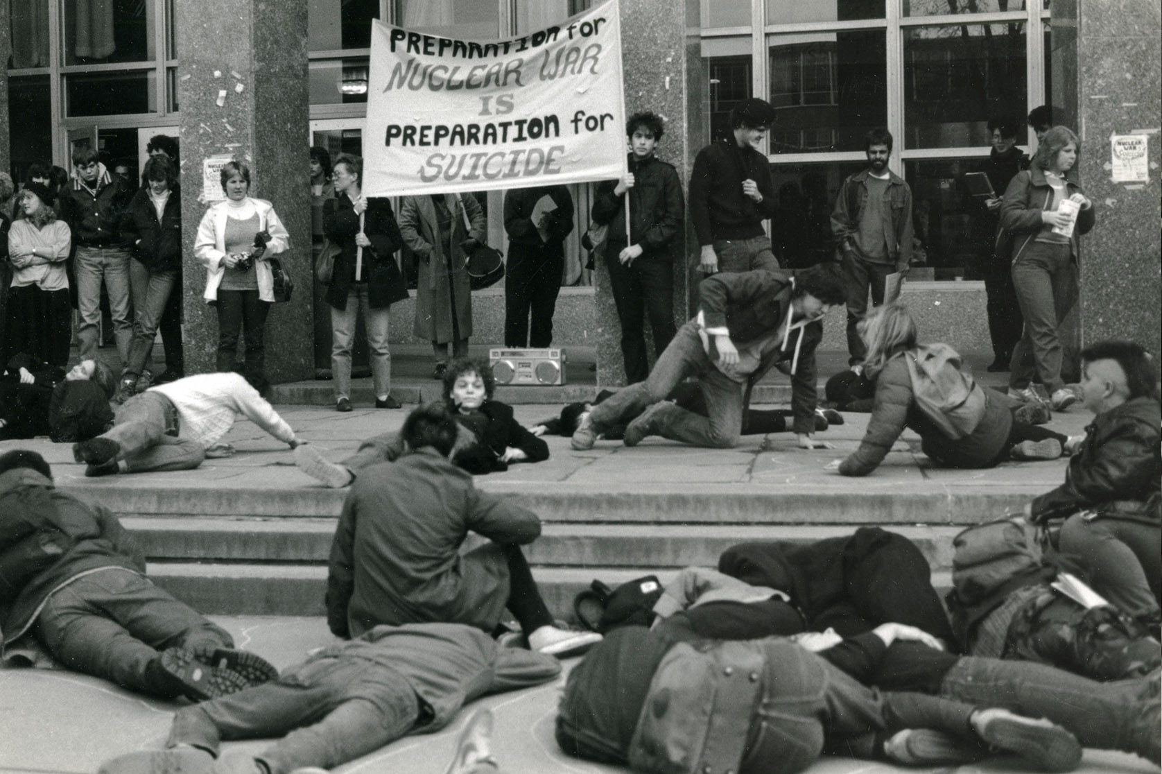 Depiction of Die-in at the Student Union