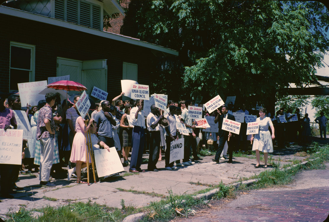 Depiction of Civil rights demonstration, Cairo, Ill., 1962