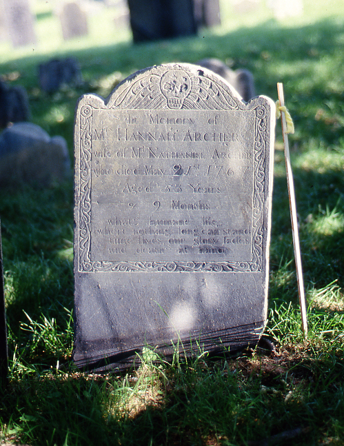Depiction of Erased stone, Salem, Mass.