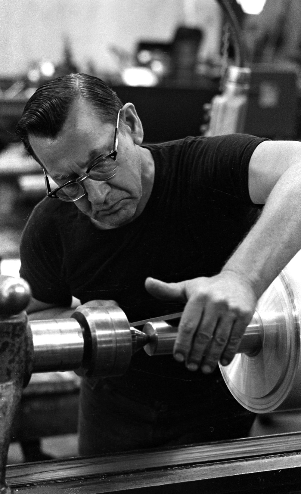 Lathe operator, Rodney Hunt co., 1974