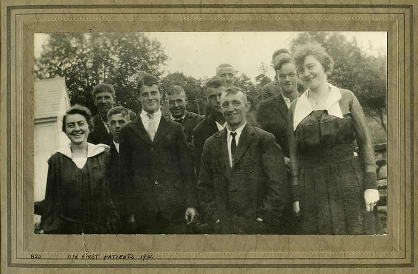 An image of: 'Our first students,' 1921 from the Aubrey Lapolice Collection
