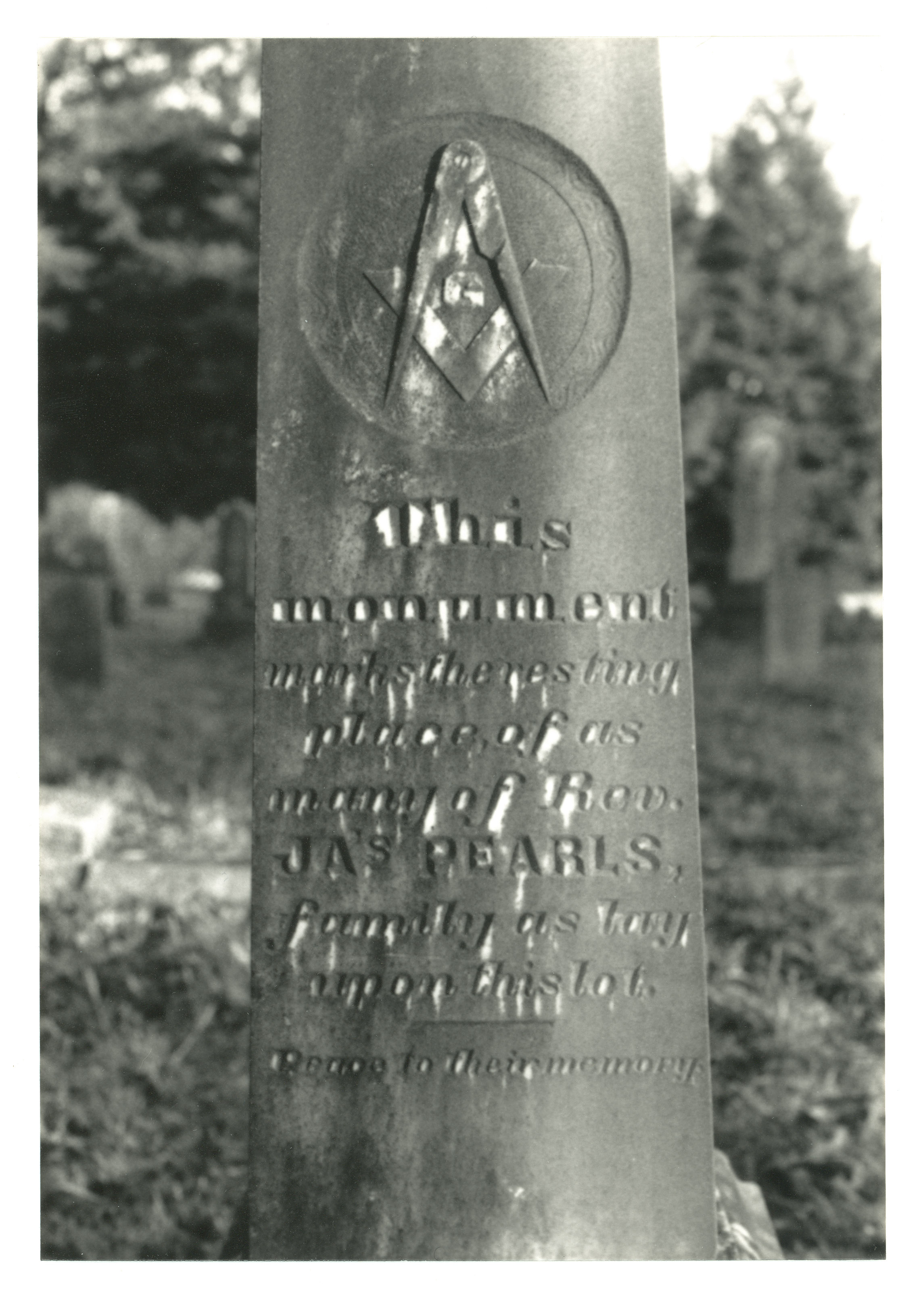 An image of: Monument for Rev. Pearls.