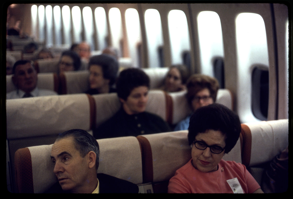 Depiction of Passengers on a plane, ca.1973