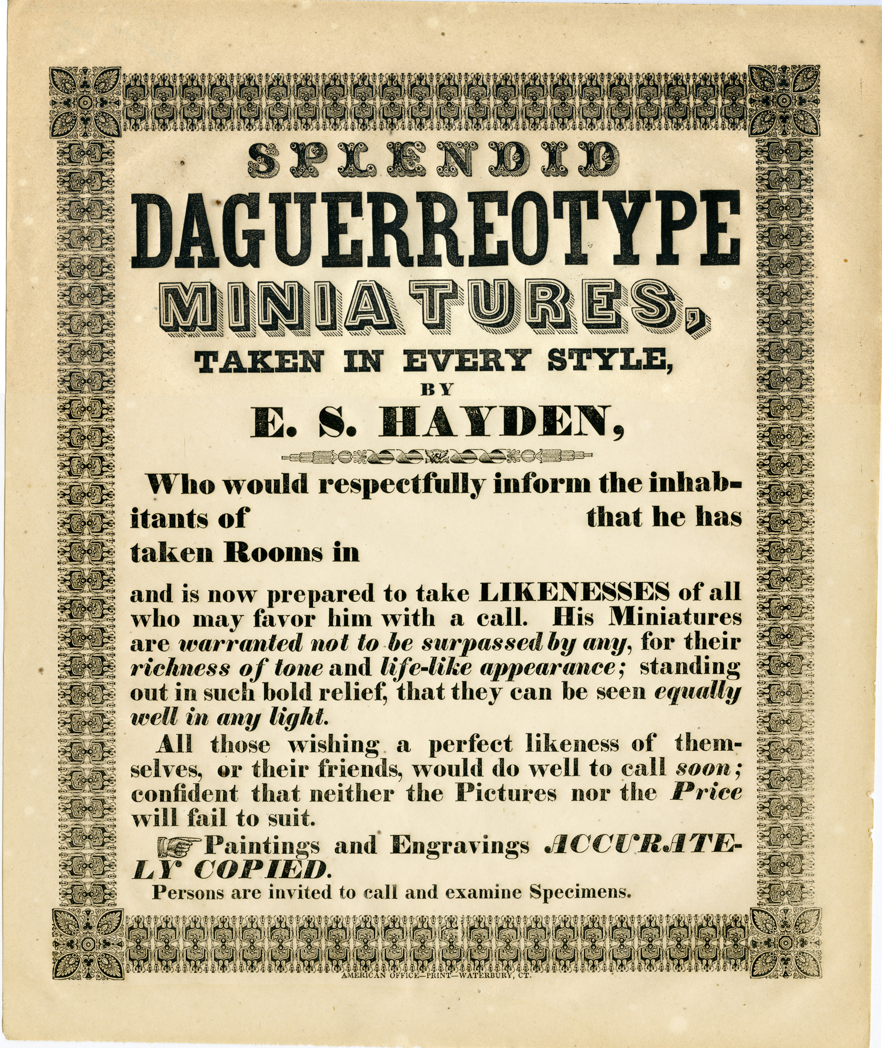 Depiction of Advertisement for E. S. Hayden's daguerreotypes, ca.1850