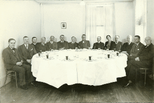 Depiction of Pres. Hugh P. Baker and<br />Cabinet of Faculty, 1936