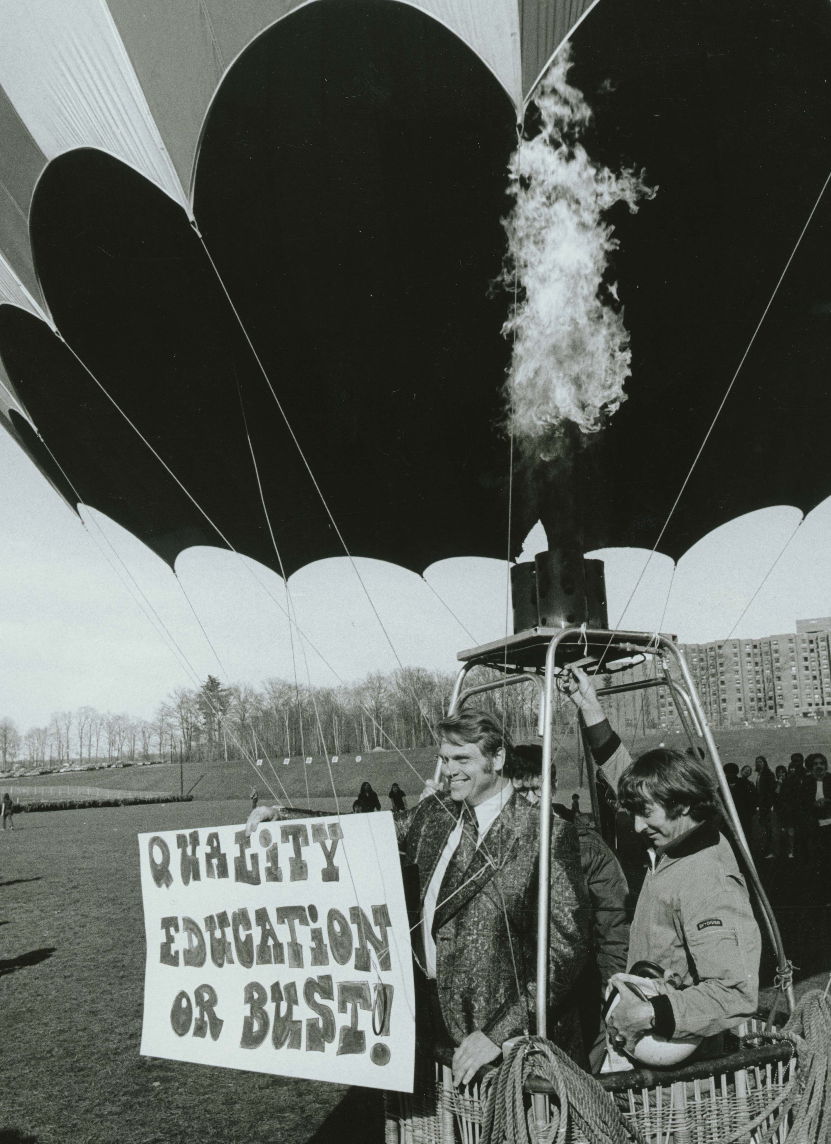 An image of: Dwight W. Allen in hot air balloon, ca. 1973