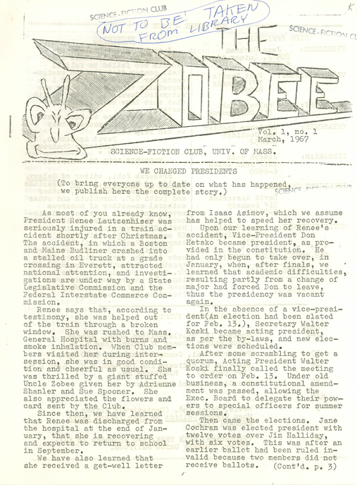 An image of: First issue of SFS publication, The Zobee, 1967.