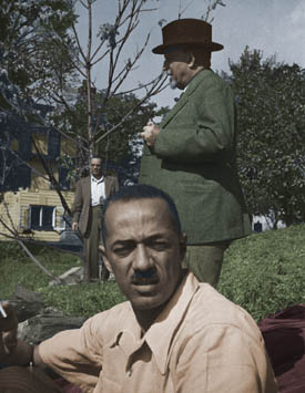 William Hastie, W.E.B. Du Bois, and unidentified man, ca.1947
